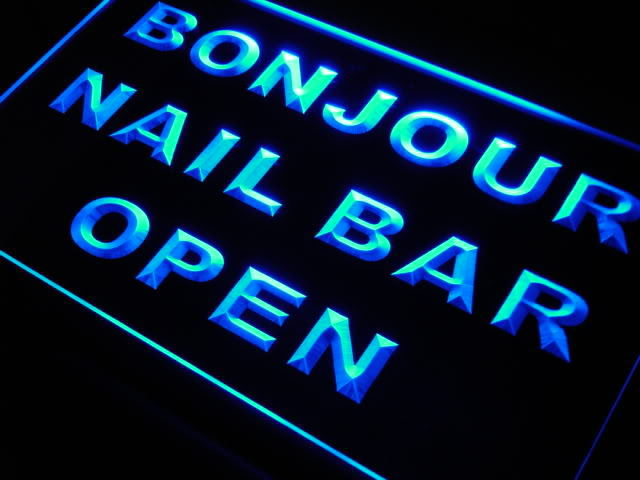 Nail Bar OPEN Bonjour Neon Light Sign